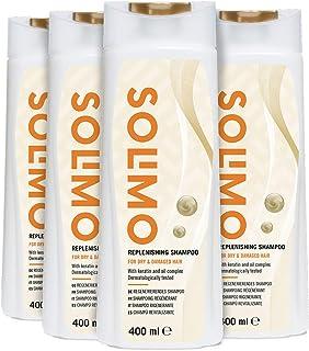 Marca Amazon - Solimo Champú revitalizante para cabello dañado y seco, con queratina y complejo de aceite - Paquete de 4 (4 Botellas x 400ml)