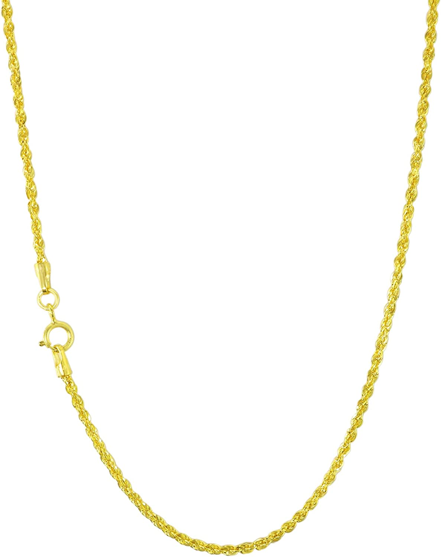 Nuragold 14k Yellow Gold 1.5mm Rope Chain Diamond Cut Pendant Necklace, Dainty Womens Jewelry 16