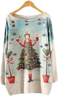 Rawdah_Jerséis Mujer Invierno Jerséis De Punto Mujer Navidad Womens Batwing Manga Larga Color Suelta Tejer Punto Jersey To...
