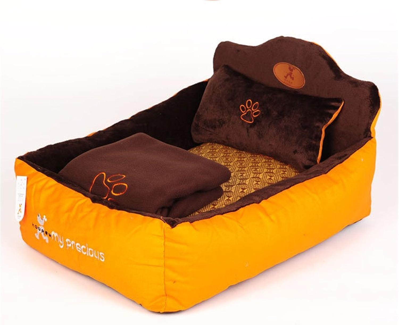 CHWWO FourPiece Set Kennel Four Seasons Universal Washable Pet nest Cat nest Teddy Pet Bed Pet Supplies 58x40x16 cm