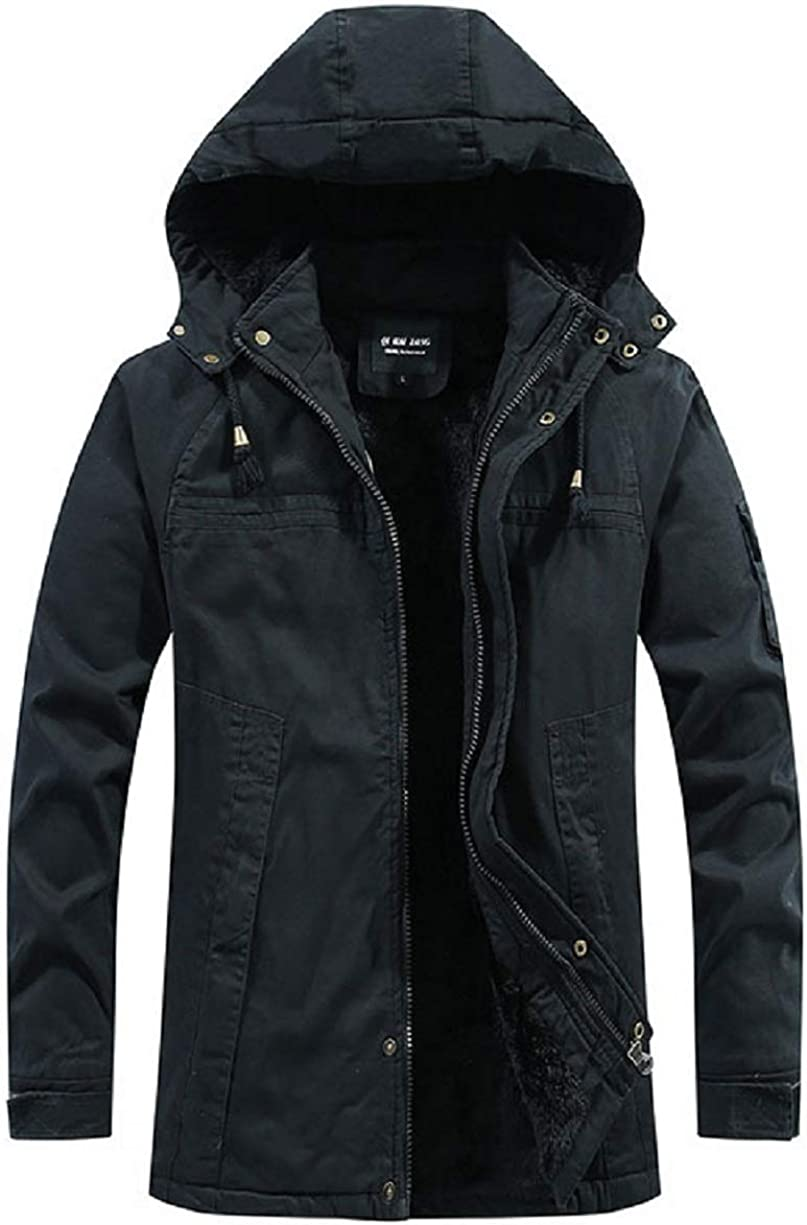 CHARTOU Men's Winter Hooded Fuzzy Sherpa Quilted Zip-Up Mid-Washed Short Jacket