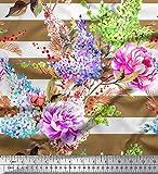 Soimoi Braun Georgette Viskose Stoff Streifen, Lavendel &