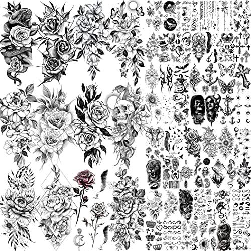 Shegazzi 64 Blatt 3D Blumen Temporäre Tattoos Frauen Mädchen, 12 Blatt Realistisch Sexy Rose Pfingstrose Blumen Fake Tattoo Aufkleber Erwachsene, 52 Blatt Klein Schwarz Schlange Brief Tatoos Hals Haut
