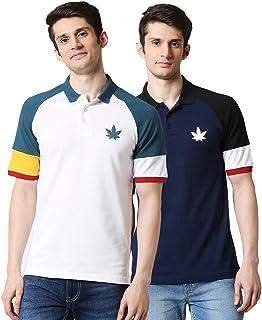 Bewakoof Men's Cotton Solid Pack of 2: White-Deep-Old Gold-Pageant Blue-Jet Black-Baleine Half Sleeves | Polo | Regular Fi...