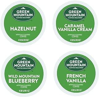 Green Mountain Coffee FLAVORED Variety Sampler Pack 96 K-Cups including CARAMEL VANILLA CREAM, FRENCH VANILLA, HAZELNUT, WILD MOUNTAIN BLUEBERRY