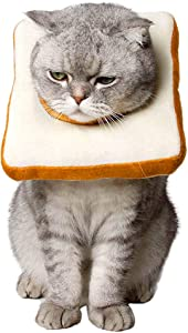 Amakunft Adjustable Cat E-Collar, Cute Toast Neck Cone After Surgery, Wound Healing Protective Cone Bread Surgery Recovery Elizabethan Collars, Soft Edge for Kitten and Cats