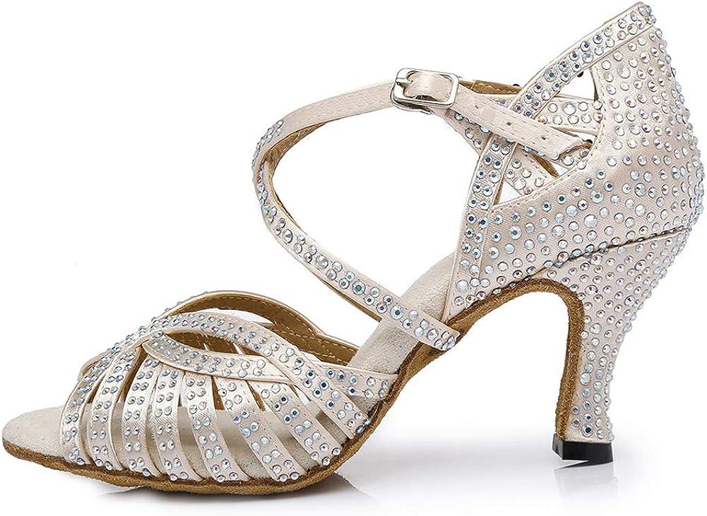 DKZSYIM Women's Satin Latin Dance Shoes Ballroom Performance Shoes,Model AFCT404