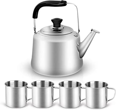 Odoland 4L Camping Kettle Set with 4 Cups, Durable Stainless Steel Camp Tea Coffee Water Pot with 4 Cups for Hiking, Backpack
