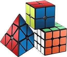 ROXENDA Paquete de Cubo de Velocidad, Speed Cube Set de 2x2 3x3 Pirámide, Juego Suave y Cubo de Rompecabezas de Giro Fácil