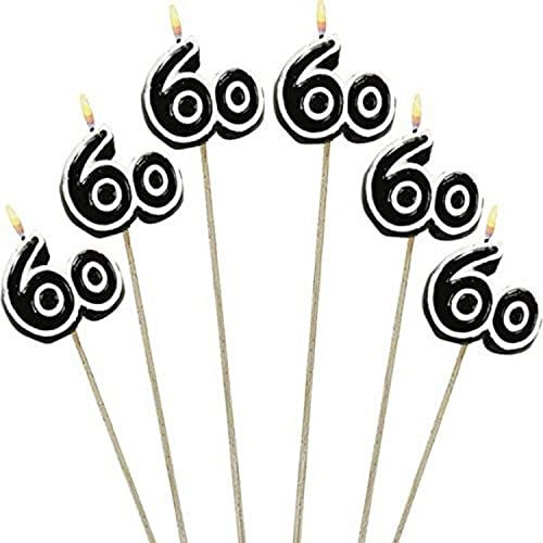 "Amscan Numerical Candles, 60th Celebration Candles on a Stick, Party Supplies, Multicolor, 9 1/2"", 6ct - 176055"