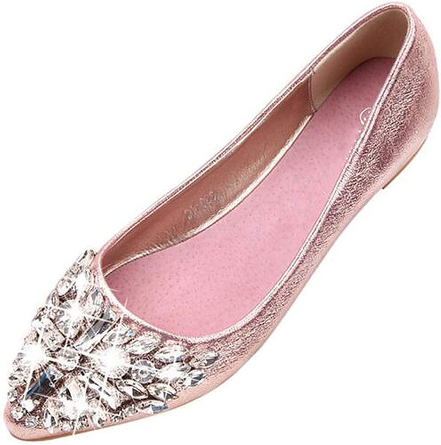 Spring Summer Women Rhinestone Flats shoes Pointed Toe Ladise shoes Casual Low Heel Flat shoes Woman shoes women E523
