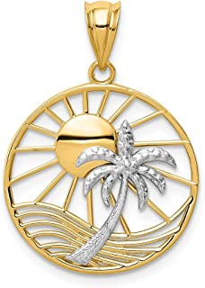 14k Two Tone Yellow Gold Sun Palm Tree Pendant Charm Necklace Sea Shore Fine Jewelry Gifts For Women For Her