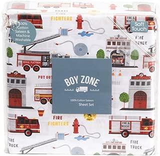 Boy Zone Sheet Set Firehouse Fire Trucks 100% Cotton Red Blue White (Full)