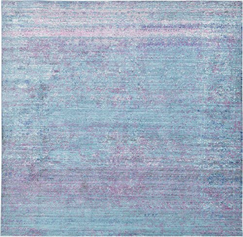 Unique Loom Austin Collection Casual Vintage Over-Dyed Light Blue Square Rug (8' 0 x 8' 0)