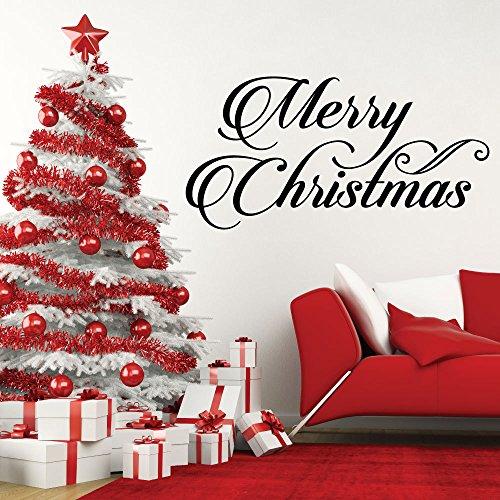 Crjzty Golondrinas Ceramica Negra Feliz Feliz Navidad Citas Vacaciones Temporada Inicio Ventana Etiqueta de la Pared DIY Palabras Navidad Decoración para el hogar Mural de Pared Arte Vinilo 57X28Cm