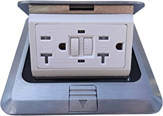 Pop Up Floor Box Countertop Box w/20A GFI Receptacle Electric Outlet - Brushed-Stainless Finish