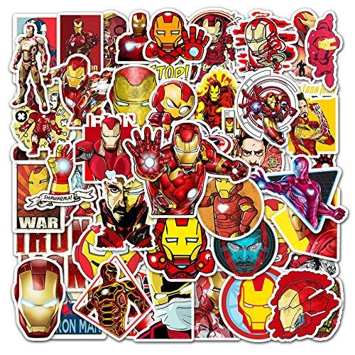 Marvel Hero Iron Man etiqueta de dibujos animados portátil equipaje scooter impermeable etiqueta decorativa 52 piezas