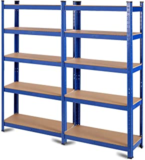 Tangkula Metal Storage Shelves, 60inches Heavy Duty Frame Organizer, 5-Tier Garage Shelf, Multi-Use Storage Shelving Unit, Storage Rack with Adjustable Shelves (30