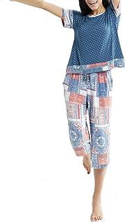 INK+IVY Conjunto de Pijama de Manga Corta de rayón y Pantalones Capri para Mujer