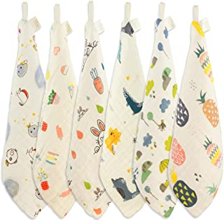Natural Cotton Baby Washcloth, Wash Gloves Face Towel, Ideal for Sensitive Skin and Baby, Reusable Wipes, 6 Pack 11.8x11.8...