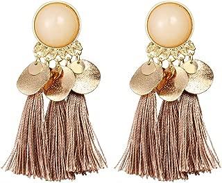 Gorgeous Earrings 1Pair Women Bohemian Tassels Sequins Ear Stud Dangle Earrings Banquet Jewelry Earrings