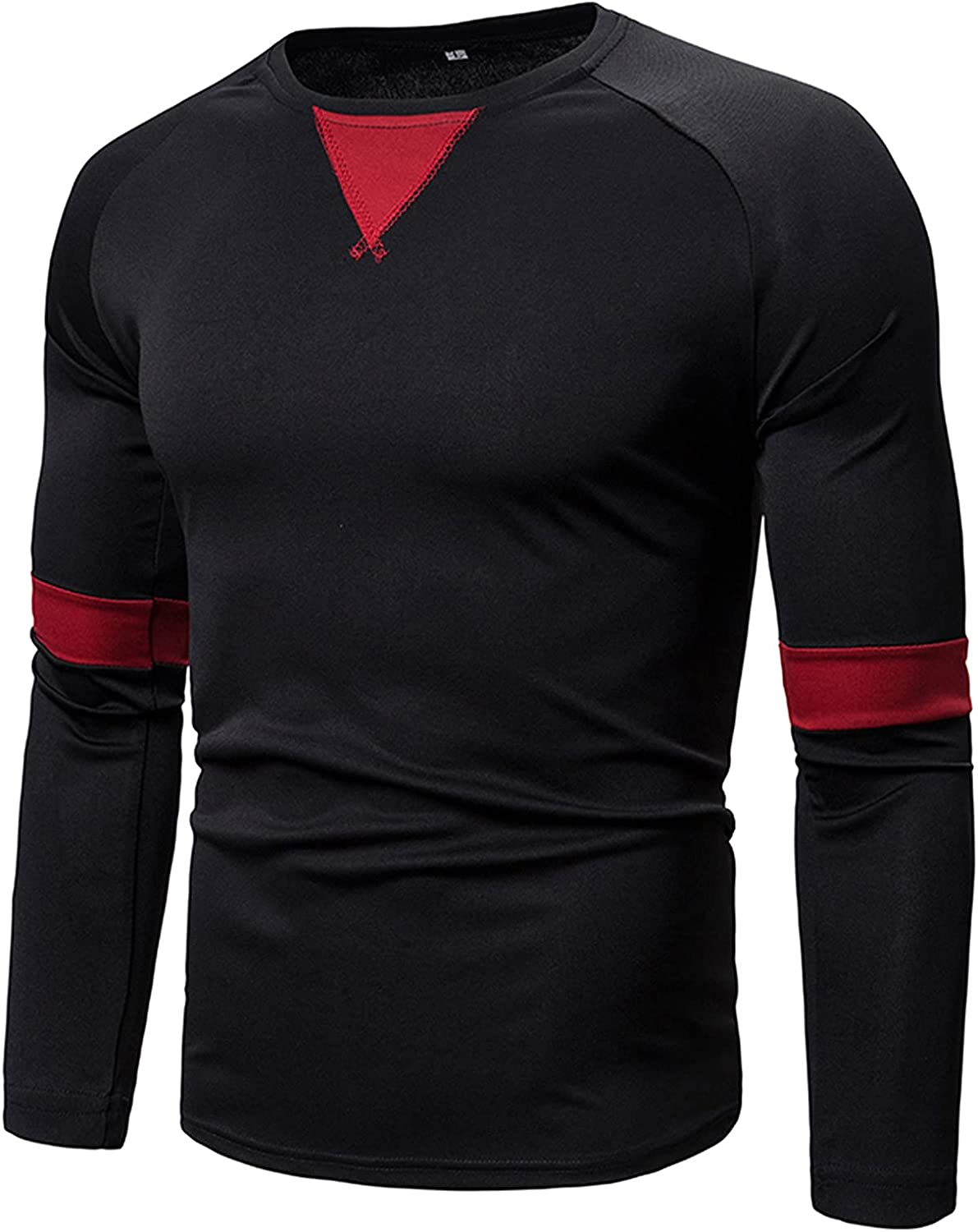XXBR Long Sleeve T-shirts for Mens, 2021 New Fall Splice Patchwork Workout Athletics Sports Casual Crewneck Tee Tops