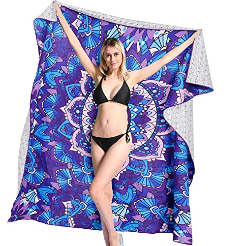 Toallas de Playa Muy Grandes Doble de Antiarena de Microfibra para Hombre Mujer, 183x183cm, Toallas Baño Calidad Gigante Secado Rapido para Piscina, Manta Playa, Toalla Yoga Deporte, Mandala Azul