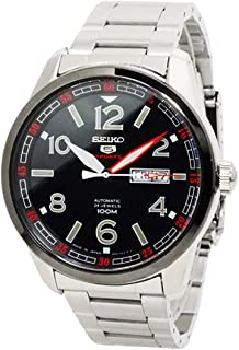 Seiko 5 Sports SRP629 J1 Silver with Black Dial Men's Automatic Stainless Steel Watch