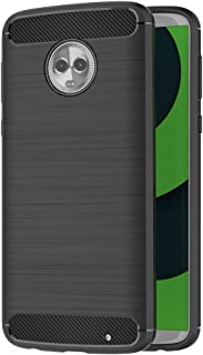 AICEK Funda Motorola Moto G6 Plus, Negro Silicona Fundas para Moto G6 Plus Carcasa Motorola Moto G6 Plus Fibra de Carbono Funda Case (5,93 Pulgadas)