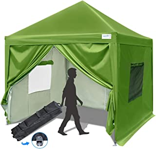 Quictent 8x8 ft EZ Pop Up Canopy Tent Instant Folding Party Tent with Sidewalls Waterproof (Green)