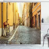 Ambesonne Wanderlust Shower Curtain, Historic Street in the Rome Italy Bicycles Stand on Wall Travel Art Destination, Cloth Fabric Bathroom Decor Set with Hooks, 84' Long Extra, Earth Yellow Blue Grey