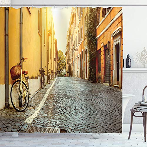 Ambesonne Wanderlust Shower Curtain, Street in Rome Italy Bicycle Travel Honeymoon Destinations, Cloth Fabric Bathroom Decor Set with Hooks, 70' Long, Earth Yellow Blue Grey