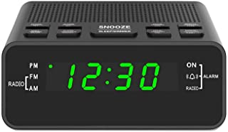 """Digital Alarm Clock Radio, Alarm Clocks for Bedrooms with AM/FM Radio, Sleep Timer, Dimmer and Easy Snooze – 0.6"""" Green LED Numbers"""