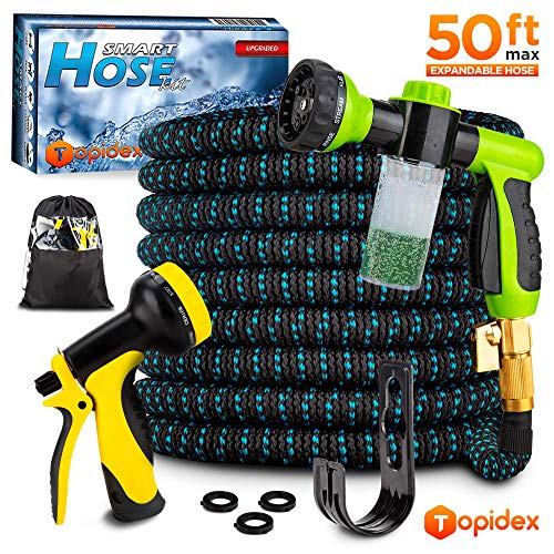 Topidex Car Wash Kit, Expandable Garden Hose 50 FT - with High Pressure Spray Nozzle - Soap Dispensing Sprayer Gun - 9 Spray + 3 Foam Spraying Patterns with Storage Bag, Hanger & 3 Extra Washers