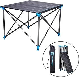 Ruitx Mesas Laterales de Camping portátil con Tablero de Aluminio: Mesa Plegable de Altura Ajustable en una Bolsa para Picnic, Campamento, Playa, Barco, fácil de Limpiar