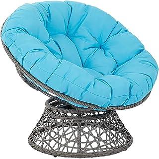 Cojín silla giratoria jardín, Cojín silla Cojín silla interior Papasan para exteriores Espesar Cojín silla columpio redondo Almohadilla para silla mecedora Colgante Hamaca azul cielo 80x80x6cm (31x31