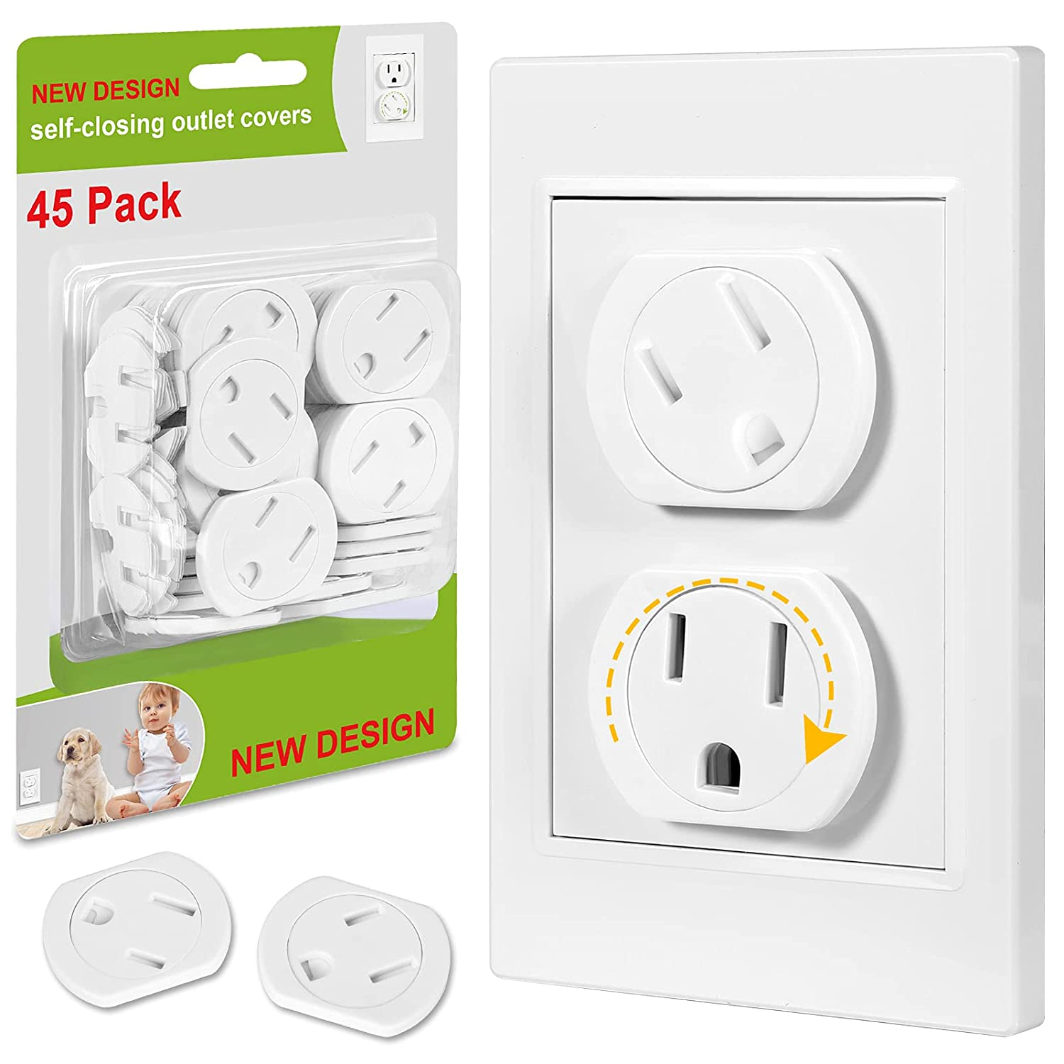 Outlet Covers (45 Pack) Self-Closing Outlet Plug Covers 3-Prong Swivel Electrical Outlet Protectors for Baby Upgraded Adhesive Installation Socket Covers Comes with Extra Sticker Durable ABS Plastic