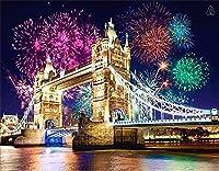 大人のための5Dロンドンブリッジダイヤモンドペインティングキットフルドリルダイヤモンドアートキット、家の装飾のためのDIY工芸品-50x60cm