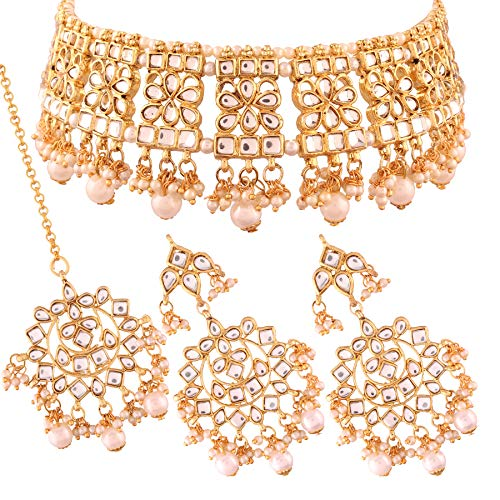 I J ewels Kundan Parure de Collier avec Boucles doreilles et Boucles doreilles Maang Tikka pour Femme Plaqu/é Or K7065Q