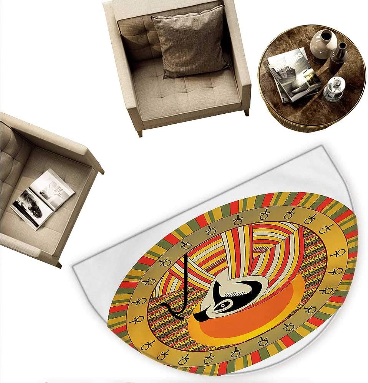 Egyptian Semicircle Doormat Ancient Egyptian Sun Figure in colorful Design Spirit Animal Culture Illustration Halfmoon doormats H 78.7  xD 118.1  Multicolor