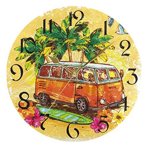 ART VVIES Reloj de Pared Redondo de 10 Pulgadas, sin tictac, silencioso, Dorado, con Pilas, para Oficina, Cocina, Dormitorio, decoración del hogar, autobús Antiguo con Tabla de Surf, Flor y Palma