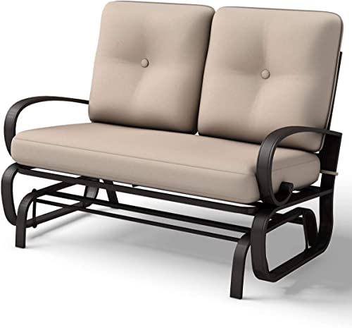 discount Giantex sale Loveseat Outdoor Patio online Rocking Glider Cushioned 2 Seats Steel Frame Furniture (Beige) online sale