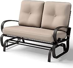 Giantex Loveseat Outdoor Patio Rocking Glider Cushioned 2 Seats Steel Frame Furniture (Beige)