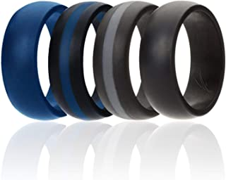 ROQ Silicone Wedding Ring for Men, 7 Pack, 4 Pack & Singles, Silicone Rubber Bands - Classic Style Solid & Striped, Metallic Look & Matte Colors