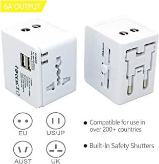 Travel Adapter,Universal Travel Adapter,International Plug Adapter,International Power Adapter for US, UK, EU, AU, Over 200 Countries, Multifunctional Converter Plug and Socket Dual USB