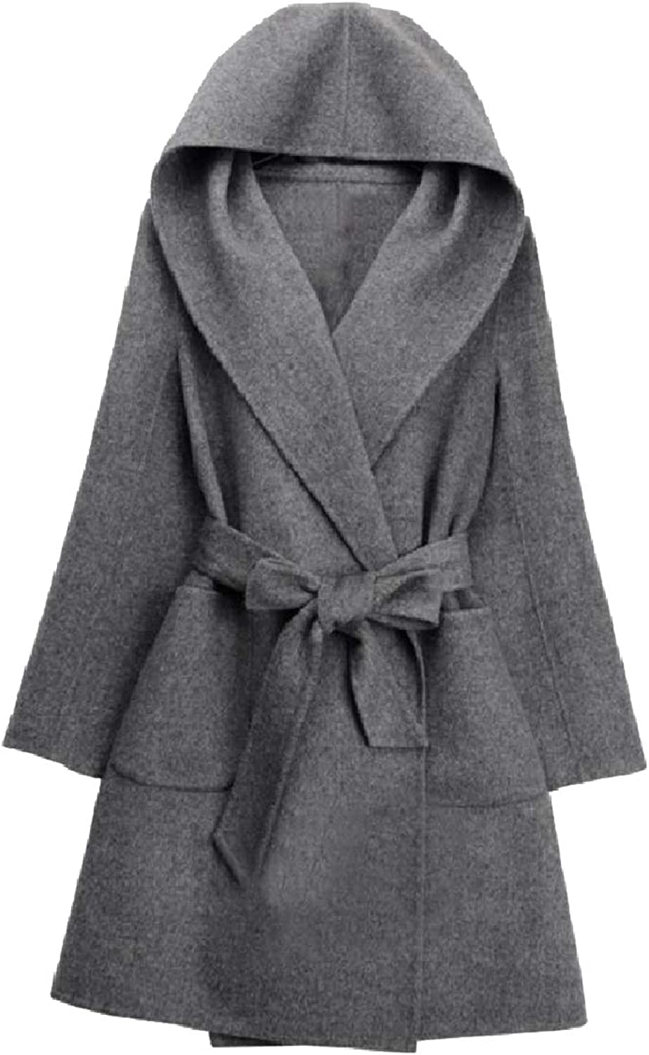 Mfasica Womens Fall Winter Long Slim Fit Trench Belted Design Pea Coat