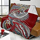 Pureny Viciony Yakuza Dragon Tattoo 50' x40 Blanket Super Soft Lamb Wool Blanket Warm Blanket, Used for Sofa Travel Chair Blanket, Light Blanket