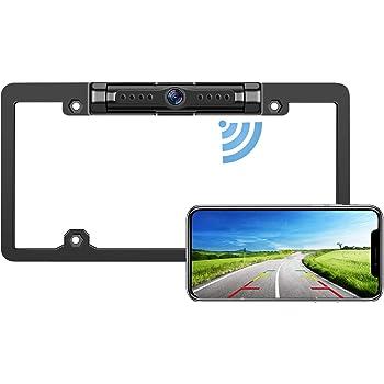 LeeKooLuu WiFi Digital Wireless Backup Camera for iPhone/Android, IP69 Waterproof Car License Plate Frame Camera for Cars,Trucks,SUVs Pickups,Vans LK08