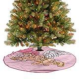 ThinkingPower Alfombra suave para árbol de Navidad, con diseño de Cupido sonriente, día de San Valentín, Navidad, fiestas de Año Nuevo, accesorios de fiesta, diámetro – 76,2 cm
