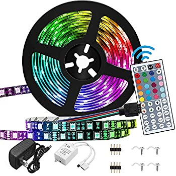 Led Strip Lights Waterproof 16.4FT / 5M RGB 5050 with 44 Keys IR Remote Controller and 12V Power Supply for Bedroom Home Kitchen DIY Decoration